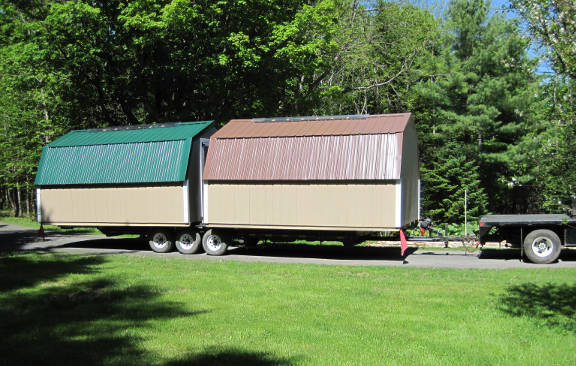 Two Gambrel Sheds on the Go